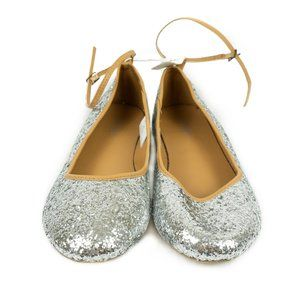 ✨3/$25✨Old Navy Silver Sparkle Ankle Strap Flats
